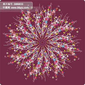矢量圆形花底纹素材CDR9