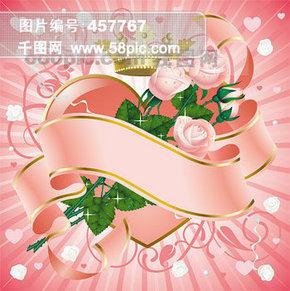 粉红色玫瑰花与丝带矢量素材