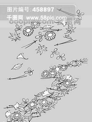 图片免费下载 树叶线描素材 树叶线描模板 千图网