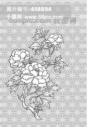 线描植物花卉矢量素材 11 牡丹花 .
