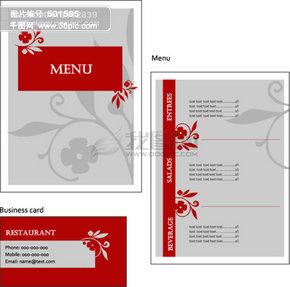 3 名片菜单等模板矢量素材