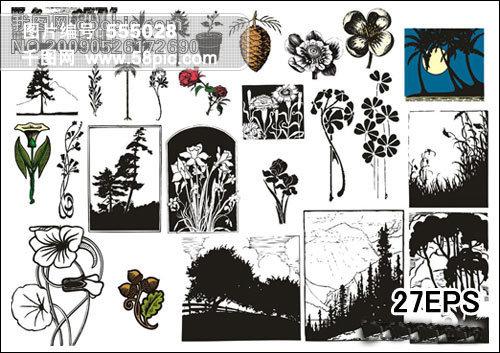 古典艺术剪贴画矢量素材 花朵植物矢量图免费下载 千图网
