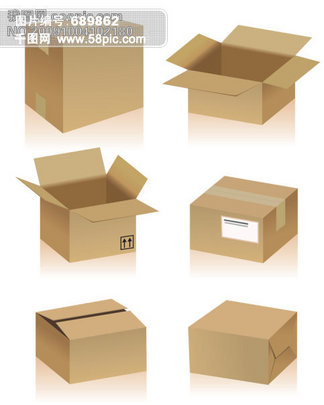 立体<i>纸</i><i>箱</i>和常见<i>纸</i><i>箱</i><i>标</i><i>志</i>矢量素材2