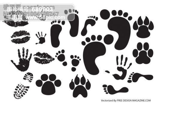 实用有趣的黑白脚印掌印矢量素材模板免费下载