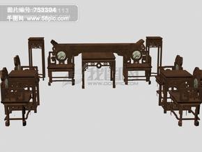 3d成套豪华桌椅