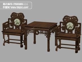 3d古典豪华桌椅