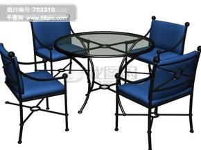 3d现代圆桌椅