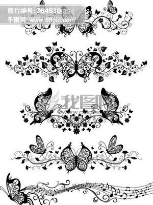 矢量蝴蝶花纹素材