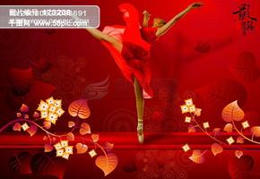 龙腾广告 平面广告PSD分层素材源文件 古典 舞者 舞蹈 叶子 图案