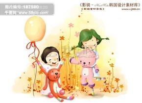 HanMaker韩国设计素材库 背景 卡通 漫画 可爱 人物 女孩 玩具 玩耍 开心 儿童