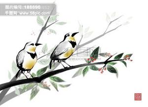 HanMaker韩国设计素材库 背景 水墨 绘画 枝头 花枝 树枝 鸟