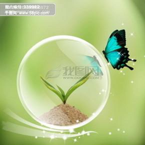 汽泡 蝴蝶 种子 树苗 星光 光点 炫光 绿色背景 PSD分层素材源文件 韩国花纹图库