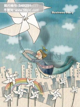 卡通画 手绘 人物 建筑 办公 地图 卡通字母 云朵 树叶 天秤 白云 PSD分层素材源文件 韩国花纹图库