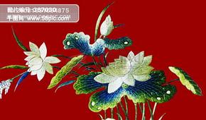 花鸟画花 中华刺绣 绣花 布艺 民间艺术 PSD分层素材源文件 中国传统元素整合图库