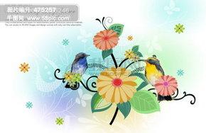 花 小鸟 蝴蝶 背景素材 时尚 psd分层图