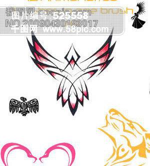 动物纹身笔刷psd素材免费下载_格式:abr_大小:800x600