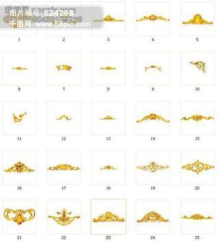 25款欧式金色花纹花边PSD素材