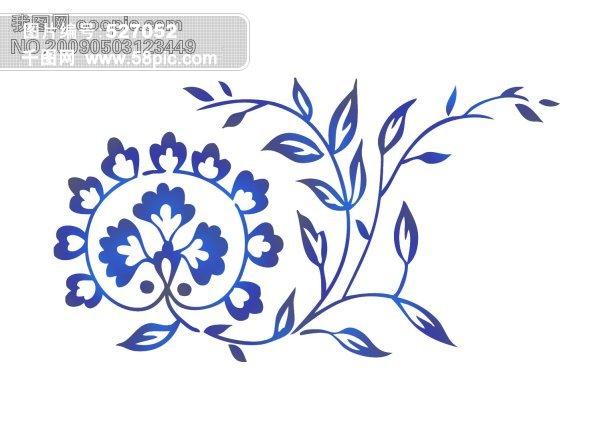 手绘水彩 抽象花卉 青花瓷 花纹