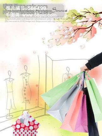 购物美女与卡通背景PSD分层素材