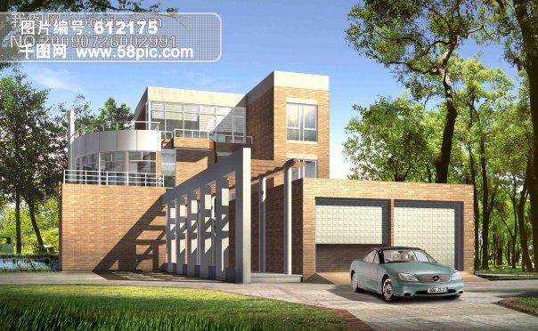别墅室外设计1建筑免费下载_格式:psd_大小:3500x2160
